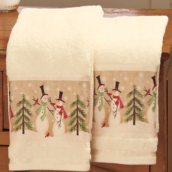Linda Spivey Set of 2 Snowmen Hand Towels Holiday Christmas Bath Home Decor