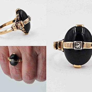 Vintage Art Deco 10K Yellow Gold, Black Onyx & Diamond Ring, Romany, Quatrefoil, Flower, Oval, Size 6 1/4, 4 Grams, Lovely! #c260