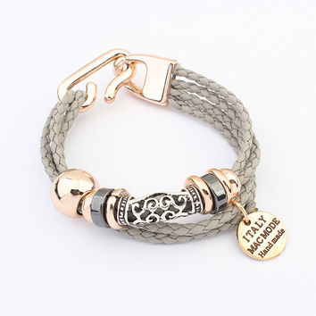 Fashion Punk Vintage Woven Metal Winding Braided Rope Leather Ribbon Chain Charms Bracelet &Bangle Women Jewelry Pulseras D160