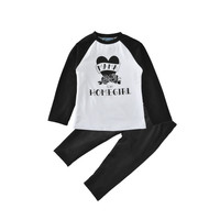 toddler girl clothing sets spring autumn letter t shirt+pants rose 2pcs kids baby clothes 2017 new cute heart boys clothing set
