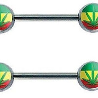 """Nipple Ring Double Rasta bar body Jewelry sold as Pair 14g 1/2"""" Sold as a Pair."""