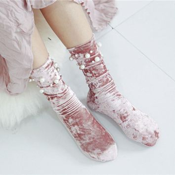 Korean New Fashion Women Beaded Velvet Glitter Socks Warm Hipster Casual High Quality Soft Street Loose Pile Heap Cheap Hosiery