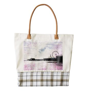 Santa Monica Pier Pink Grunge Zazzle HEART Tote Bag