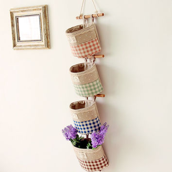 2016 cotton and linen cloth storage bag round sundry hang bag On the wall behind the door key storage organizer bags 1pc