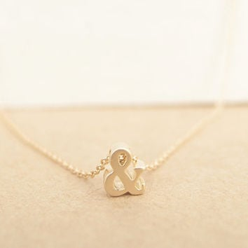 3D Ampersand Necklace (Gold) - ampersand, unique, friendship necklace, gold necklace