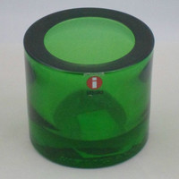 Iittala Marimekko Kivi votive candle holder in green. Classic scandinavian glassware designed by Heikki Orvola.