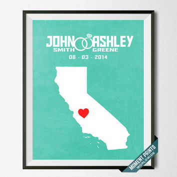 Customized, Print, California, Wedding, Anniversary, Couple, Personalized, Gift, Map, Custom, Wall Art, Home Decor, Marriage, Love [NO 4]