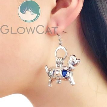 KE583 Silver Puppy Dog Dangle Earrings Beads Cage Perfume Essential Oil Diffuser Stone Pearl Cage Locket Drop Earring Brinco