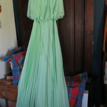 70s Bohemian Maxi Dress Party Dress Butterfly Bodice  mint green Sleeveless  Grecian Goddess Accordion Pleat Evening Dress   S / M