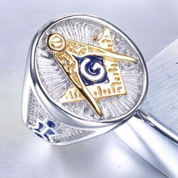 Silver Gold Color Signet Masonic Ring