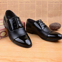 Men's Soft Patent Leather Oxford Dress Shoes Black