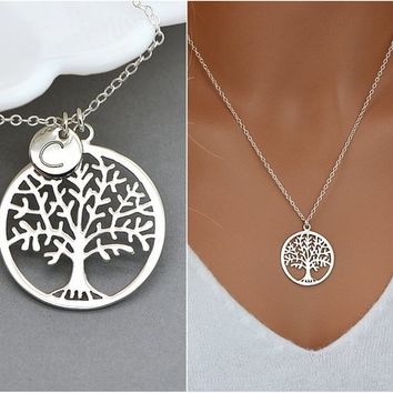 Family Tree Necklace, Tree Of Life, Personalized Tree Necklace, Silver Tree Necklace, Mother Necklace, Initial Tree, Grandma Necklace