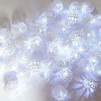 Party Lighting, Holiday Lights, Bedroom Decor, Fairy Lights, String Lights, Lace Crocheted ball , LED string lights