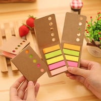 Novelty Kraft Paper Cover Candy Color Memo Pad N-times Sticky Notes Bookmark Notepad School Office Supply Escolar Pepalaria