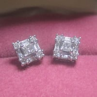 Vintage .75 cttw Princess, Baguette & Round Brilliant Cut Diamond Cluster Stud Earrings Square Illusion Settings 14k White Gold 2.5 grams