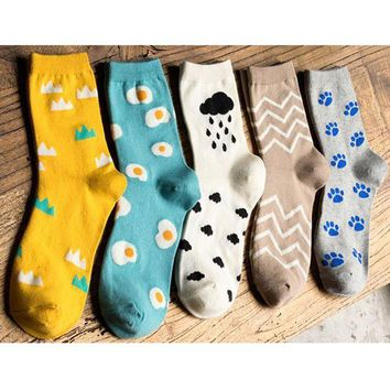 DCCKIJ2 Cartoon egg patterns Autumn winter Women's socks