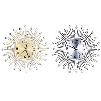 Iron Art Diamond Flower Wall Clock, Silence Metal Wall Clock
