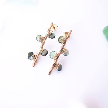 Gold Green Tourmaline Earrings, Wire Wrapped Tourmaline Earrings, Green Gemstone Earrings, Green Tourmaline Dangle Earring, Birthday Gift