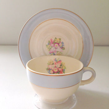 Vintage Royal China National Brotherhood of Operative Potters Chateau Blue Tea Cup & Saucer Blue Orchid Pattern Bridesmaid Gift Inspiration