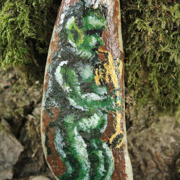 OOAK Pan Figure, painted stone, pagan god, pied piper, lord of the woods, god statue, pagan altar, wiccan altar decor, meditation palm stone