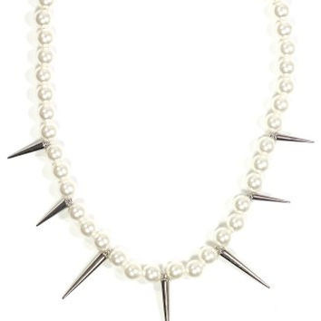 Spiked Faux Pearl Strand Necklace Studded Punk NP30 Fashion Jewelry