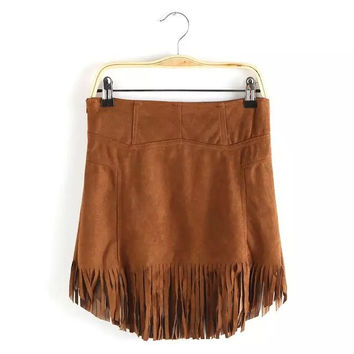 Solid Suede Leather Zipper  Tassel Hem A-Line Mini Skirt