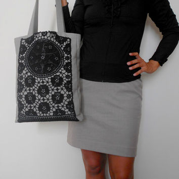 Lace Tote Bag, Black Lace Bag, Grey Shoulder Bag, Everyday Bag, Canvas Tote Bag, Shopping Bag, Black  Handbag