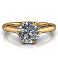 Moissanite Solitaire Engagement Ring 6 Prong Setting - Liza