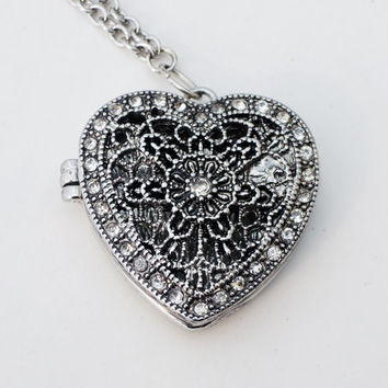 Long Silver Magnetic Heart Locket Pendant Necklace Handmade by Lindsey - Swarovski Crystals