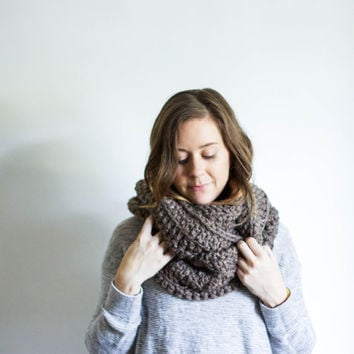 Infinity Winter Scarf Chunky Knitted Loop Cowl | THE KNOBOAK | Barley