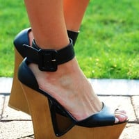 Catch The Wave Wedges: Black - Wedges - Shoes - Hope's Boutique
