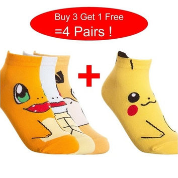 pokemon Pocket Monsters Unisex Pikachu Bulbasaur Squirtle Psyduck Cotton Low-Cut cartoon Socks Fashion Men And Women Crew Socks [8833661772]