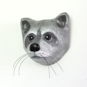 The mask of a raccoon, Paper mache, wall hanging, animal head by (Macheanimal)