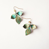 Green Leaf Earrings - Verdigris Leaves - Boho - Bohemian - Rustic - Cute Adorable Elegant Romantic Whimsical - Dreamy - Woodland Collection