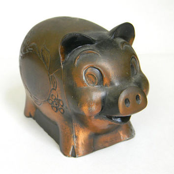 Piggy Bank  copper finish Banthrico Inc by Mylittlethriftstore