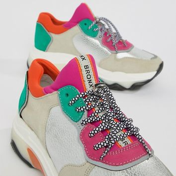 Bronx multi brights metallic suede chunky sneakers at asos.com