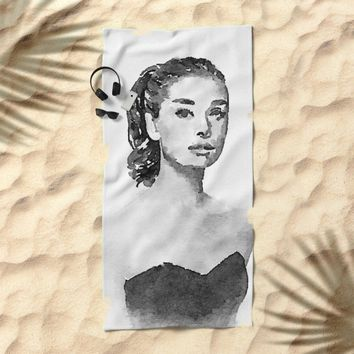 Audrey Hepburn watercolor portrait Beach Towel by Mrnobody