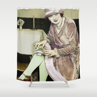 Vintage Woman With Hip Flask Shower Curtain by Blooming Vine Design