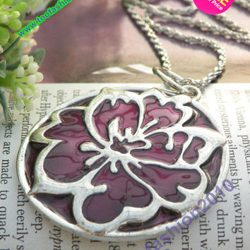 Pretty retro silver rose flower necklace pendant jewelry vintage style