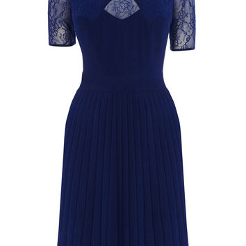 BRIGHT BLUE LACE PANEL SKATER DRESS