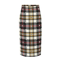 Embellished checked wool skirt