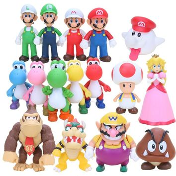 8cm Super Mario Bros Boo Ghost Yoshi Luigi Peach PVC Action Figures Figurines Collectibles Dolls Kids Toys For Boys Girls
