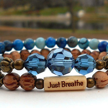 Breathe Bracelet, Just Breathe Inspiration Bracelet, Yoga Bracelet, Yoga Jewelry, Motivational Gift, Intention Bracelet, Swarovski Crystal
