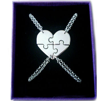 Best Friend Necklace for 4 - Heart Shaped Jigsaw Puzzle
