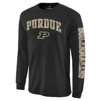 Purdue Boilermakers Distressed Arch Over Logo Long Sleeve Hit T-Shirt - Black