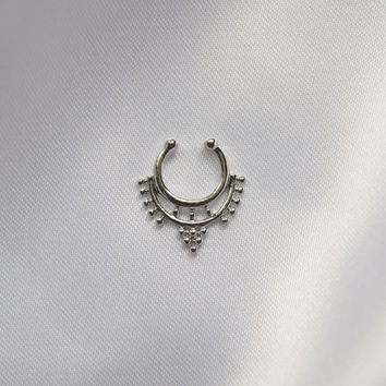 Silver Faux Septum Clicker Jewelry