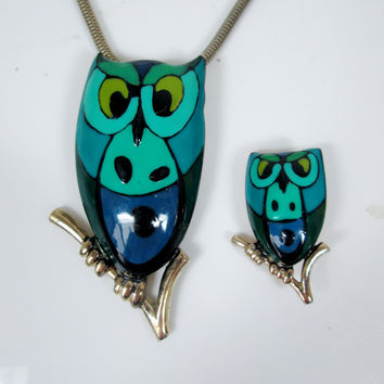 Vintage Owl Eisenberg Picasso Abstract Necklace and Brooch Blue Enamel