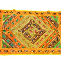 Mogulinterior Vintage Indian Tapestry Yellow Patchwork Embroidered Wall Hanging Throw …