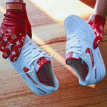 Nike Air Max 1 LV Superme Women Men Running Sport Casual Shoes Sneakers