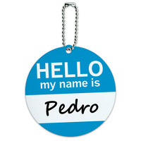 Pedro Hello My Name Is Round ID Card Luggage Tag